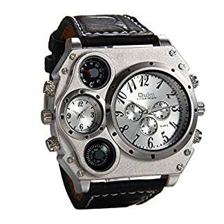 JewelryWe-Herren-Armbanduhr-Leder-Legierung-bergro-Zwei-Zeitzone-Kompass-Thermometer-Analog-Quarz-Uhr-Schwarz-Leder-Armband-mit-Silber-Zifferblatt