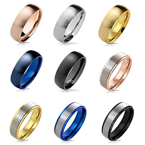 beyoutifulthings matter Band-Ring Chirurgenstahl 316L Verlobungs-Ring Partner-Ring Trau-Ring Blau Roségold Gold Silber Schwarz 47(15)-69(22)