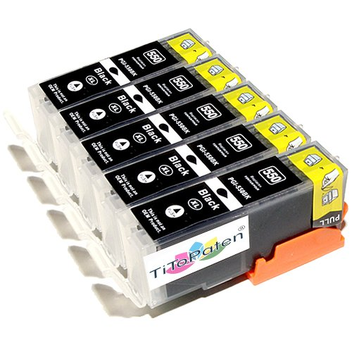TITOPATEN-5x-Canon-Pixma-IP-7250-kompatible-XL-Druckerpatronen-Schwarz-Patrone-MIT-CHIP-Hohe-Laufleistung