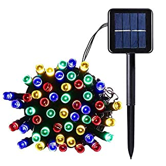 Salcar-12-Meter-Solar-LED-Lichterkette-100-LEDs-Deko-Beleuchtung-fr-Weihnachten-Party-Festen-2-Leuchtmodi-RGB