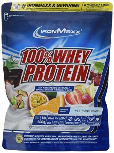 IronMaxx 100% Whey Protein / Proteinpulver auf Wasserbasis / Eiweißpulver mit Pistazie-Kokos Geschmack / 1 x 500 g Beutel
