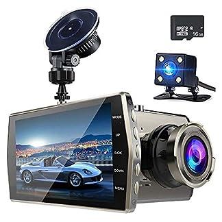 Souarts-Auto-Recorders-Autokamera-Dual-Dash-Kamera-Weitwinkel-Digital-Video-DVR-4-Zoll-IPS-150–Weitwinkel-Schwarz