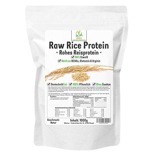 Raw Rice Protein Isolate 1000g Natur, Reisproteinisolat in Rohkostqualität, vegan, 86% Eiweiß