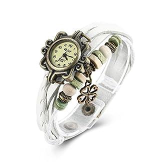 iLove-EU-Damen-Armbanduhr-Retro-Klee-Kleeblatt-Leder-Armkette-Armband-Analog-Quarz-Uhr-Watches-Wei