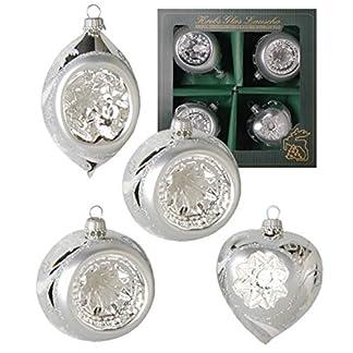Krebs-Glas-Lauscha-Reflexsortiment-in-Silber-2-Kugel-Herz-Olivenform-Christbaumschmuck-Weihnachtsbaumschmuck-Gre-9cm