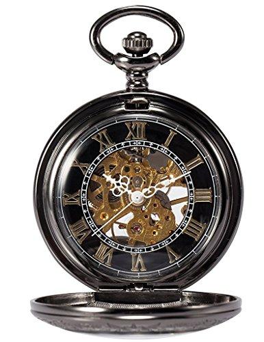 TREEWETO-Retro-Mechanische-Taschenuhr-Skelett-Uhr-Rmische-Ziffern-Spezielle-Lupe-Design-Taschenuhren-mit-kette-und-Geschenkbox