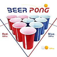 10010BeerPong-Partybecher-Beer-Pong-Becher-Plastikbecher-Einwegbecher-480ml-16-OZ-Bier-Pong-Cups-Party-Becher-Wiederholbare-Trinkbecher-Camping-Cocktail-Bier-Weihnachten-Geburtstag-Hochzeit