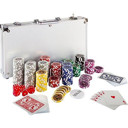 Ultimate-Pokerset-mit-300-hochwertigen-12-Gramm-METALLKERN-Laserchips-inkl-2x-Pokerdecks-Alu-Pokerkoffer-5x-Wrfel-1-x-Dealer-Button-Poker-Set-Pokerchips-Koffer-Jetons