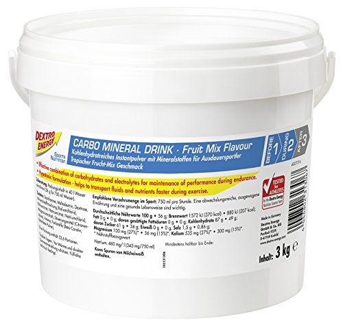 Dextro Energy IsoFast Fruit Mix / Hypotones Fitness-Getränkepulver mit Kohlenhydraten & Mineralstoffen für Ausdauersportler / 1 Eimer (3kg)