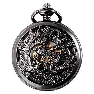 Mechanische-Skeleton-Taschenuhr-Schwarz-Lucky-Dragon-Phoenix-Geschenkbox-SIBOSUN-Antique