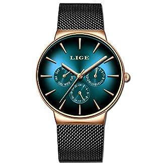 LIGE-9936A-Herren-Armbanduhr-modisch-Militr-Sport-wasserdicht-Edelstahl-schwarzes-Mesh-Business-Kleid-analog-Quarz-grnes-Zifferblatt