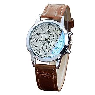 Junjie-Uhr-Analog-Armbanduhr-Mnner-Herren-Fitness-Frauen-Vogue-TischuhrSmartwatch-wasserdicht-Schn-und-zart-Weihnachten-ltere-Muster-Solides-Drei-Augen-Grtel-Leather-Blaues-Glas-Mehrfarbig