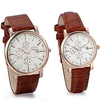JewelryWe-2pcs-Herren-Damen-Freundschafts-Armbanduhr-Business-Casual-Kalender-Analog-Quarz-Uhr-fr-Lieben-Valentinstag-Paar-Paare-Geschenk-Braun-Leder-Armband-Rose-Gold-Uhrgehuse