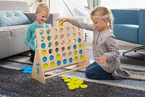 BuitenSpeel-GA279-Spiel-Vier-gewinnt-Deluxe-aus-Holz-grnblau