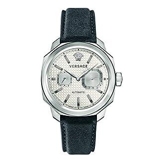 Versace-Herren-Chronograph-Automatik-Uhr-mit-Leder-Armband-V14010016