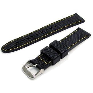 Herren-Uhrenarmband-Silikon-Diamant-Cut-Muster-18-mm-breit-schwarz-mit-gelber-Naht-C052