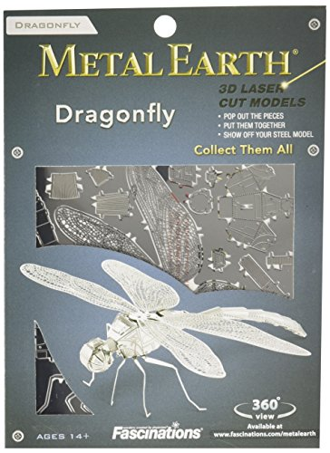 Fascinations-Metal-Earth-MMS064-502708-Dragonfly-Libelle-Konstruktionsspielzeug-1-Metallplatine-ab-14-Jahren