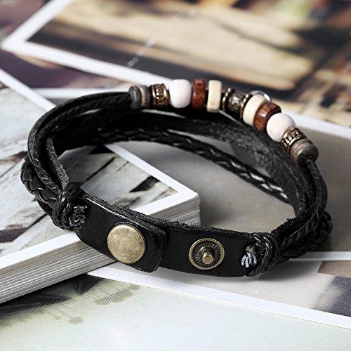 Flongo Leder-Armband Partnerarmband BFF Armbänder, Freundschaftsarmband für 2 Leder Armband Armreif Lederarmband Kordelkette Damen Herren Kinder Schwarz Braun Tai Chi Yin und Yang Paar Geschenk