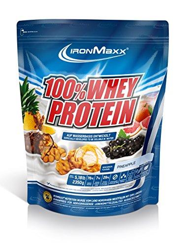 IronMaxx 100% Whey Proteinpulver Ananas / Whey Eiweißpulver für Fitness Shake / Protein auf Wasserbasis mit Ananas Geschmack / 2,35 kg Beutel