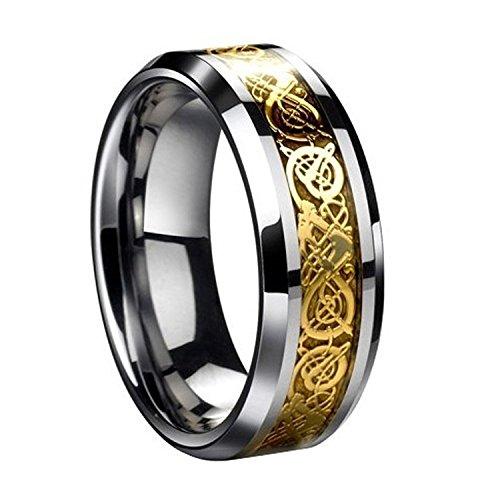 Herren Ring – SODIAL(R)Drachenschuppe Drachen Muster schraeg Kanten keltisch Ringe Schmuck Hochzeitsband fuer Maenner Golden 8