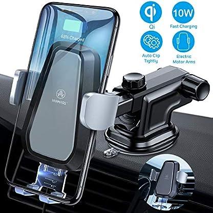 VANMASS-Wireless-Charger-Auto-Handyhalterung-Automatisch-Motor-Betrieb-10W-Kfz-Induktive-Ladestation-2-in-1-LED-mit-Lftung-Saugnapfshalter-fr-iPhone-XSX8P-Galaxy-S9S8S10-und-andere-Qi-Fhige