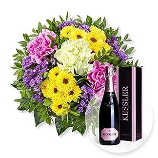 Blumenstrau-Bolero-und-Kessler-Rose-Sekt