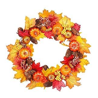 BESTOYARD-Thanksgiving-Kranz-Ahornblatt-Tannenzapfen-Beere-Rattan-Krbis-Weihnachten-Herbst-Tr-Kranz-Ernte-Dekoration-mit-OPP-Beutel