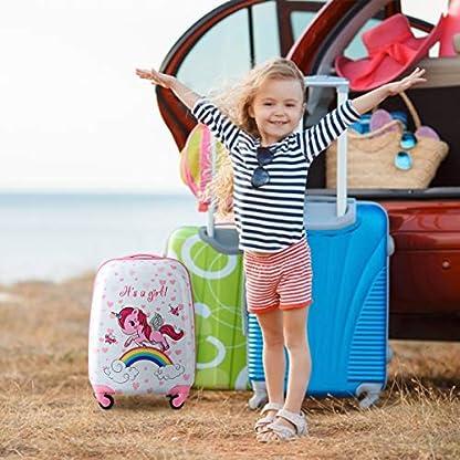 COSTWAY-2tlg-Kinderkoffer-Rucksack-Kofferset-Kindergepck-Reisegepck-Kindertrolley-Hartschalenkoffer-Rosa