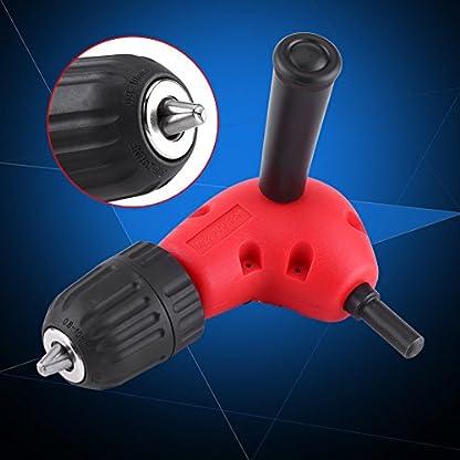 90-Grad-rechts-Winkel-Adapter-Elektrischer-Bohrer-Aufsatz-95-mm-Runde-Schaft-Schnellspannbohrfutter