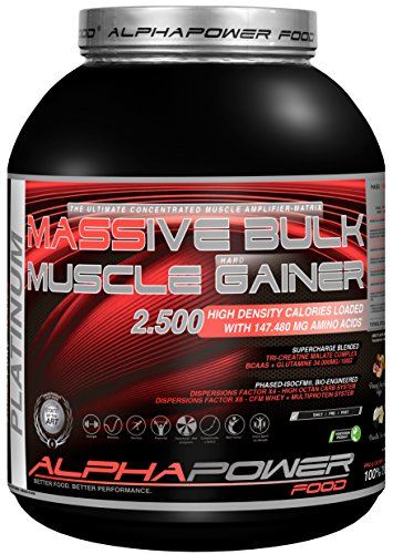 ALPHAPOWER FOOD® POWERPURE SERIES: 100%Massive Bulk-Muscle Hard Gainer Platinum Standard – Kohlenhydrate Eiweiss Protein Shake Muscle HardGainer, Dose (1 x 5000g) Chocolate Cookie Cream Weight Gainer
