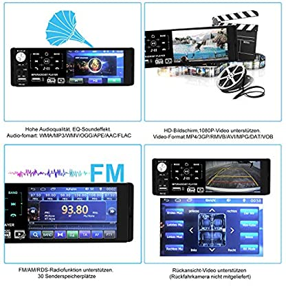 1-Din-Autoradio-MP5-mit-Kapazitiver-Touchscreen-Auto-Radio-mit-Bluetooth-Freisprecheinrichtung-und-Fernbedienung-fr-Lenkrad-FM-RadioMP3-MP5-Player-41-Zoll-HD-Bildschirm-AUXTF2-USB