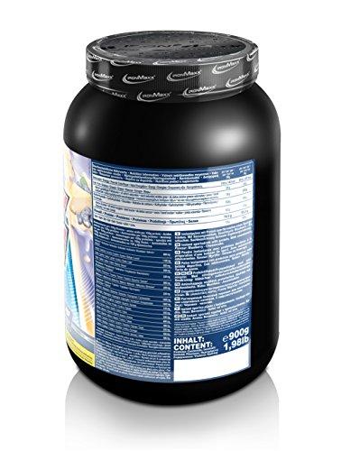 IronMaxx 100% Whey Protein Pulver / Whey Eiweißpulver für Proteinshake / Wasserlösliches Proteinpulver mit Blaubeere-Käsekuchen Geschmack / 1 x 900 g Dose