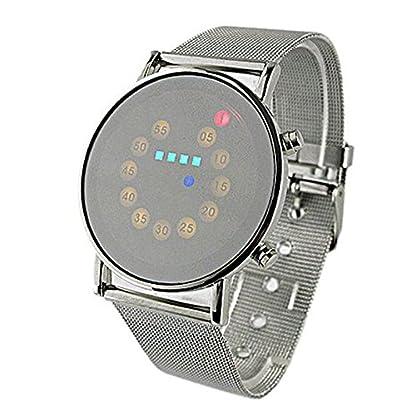 Yogogo-Herren-LED-Quartz-Analog-Armband-1-Cent-Artikel-Armbanduhr-Edelstahlband-Dekoration-Geschenk-Alugehuse-Quarzwerk-Wasserdicht-Sportuhr-22cm-Bandlnge