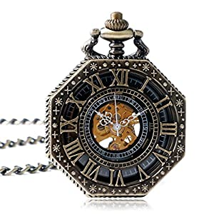 yisuya-Taschenuhr-mit-Kette-Antik-Rmische-Zahl-gold-Ton-Octagon-Fall-Steampunk-mechanische-Bewegung