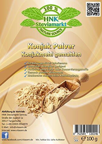 Konjak Pulver (Konjakmehl) gemahlen 100g – ideal zum Abnehmen – gesunde Unterstützung bei Diäten – Verdickungsmittel zum Backen und Kochen