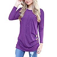 Damen-Kurzarm-Lose-Casual-Bluse-Einfarbig-Rundhals-T-Shirt-Sommer-Oberteil-Langarm-Tops-Rovinci-Pullover-Herbst-Knopf-O-Ausschnitt-Hemd-Langarmshirt-Sport-Basictop-Longshirt