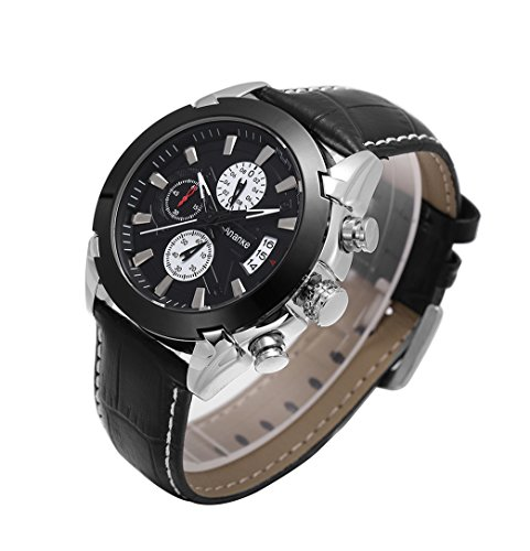 Mens-Business-Waterproof-Wristwatch-Quartz-Analog-BlackBrown-Leather-Strap-Chronograph-Calendar-Wrist-Watch-Free-Watch-Box