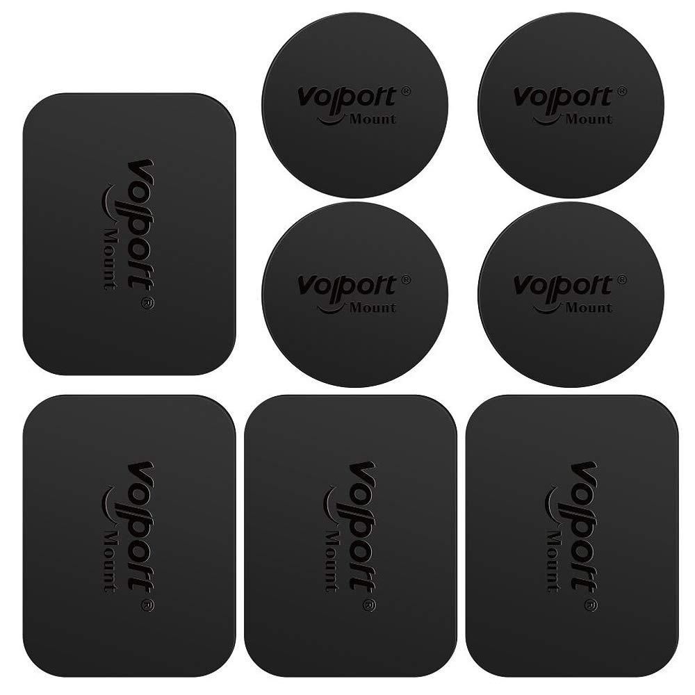Volport-8-Pack-Mount-Metallplatte-fr-magnetische-Handyhalterung-in-Autoschutzfolie-rechteckig-und-rund-schwarz