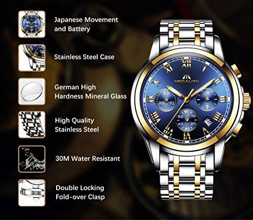 Herren-Uhren-Herren-Chronograph-Luxus-Wasserdicht-Datum-Kalender-Gro-Gold-Edelstahl-Armbanduhr-Mnner-Sport-Mode-Kleid-Leuchtende-Multifunktions-Analog-Quarz-Rmische-Ziffern-Blau-Uhr