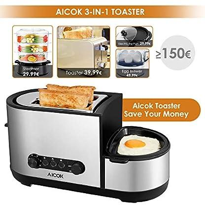 Aicok-Toaster-3-in-1-praktischer-Automatik-Toaster-mit-Eierkocher-und-elektrischee-Pfannen-1250-Watt-bis-zu-7-Brunungsstufen-und-2-Brotscheiben-gebrsteter-Edelstahl