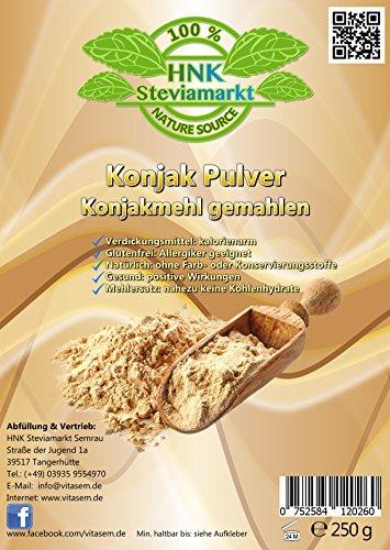 Konjak Pulver (Konjakmehl) gemahlen 250 g – ideal zum Abnehmen – gesunde Unterstützung bei Diäten – Verdickungsmittel zum Backen und Kochen