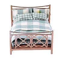 B-Blesiya-Miniatur-Puppen-Doppelbett-Bett-mit-Decke-und-Kissen-Deko-Zubehr-fr-125-Puppenhaus