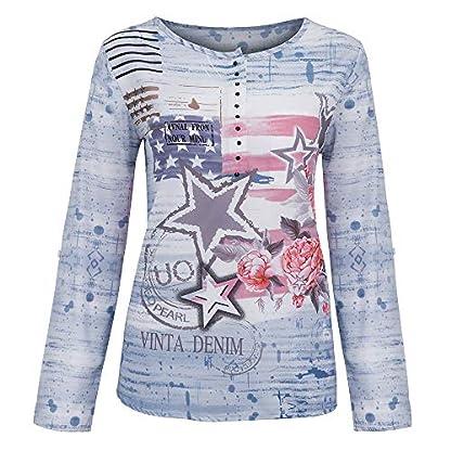 Bluelucon-Oberteil-Bluse-Damen-Freizeit-V-Ausschnitt-Groe-Gren-Stern-Langarm-Locker-Basic-Langarmshirt-Tops-Hemd-Blusenshirt-Oberteile