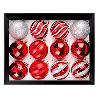 OZAVO-Weihnachtskugeln-12pcs-Christbaumkugeln-Sets-31-Zoll-8cm-Weihnachtsdeko-WeihnachtsSocken-Weihnachtshut-Rot-Wei-Silber-fr-Weihnachten-Dekoration-Weihnachtsbaum-mit-Anhnger-Geschenke
