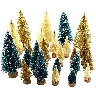 24-Stck-knstliche-Mini-Weihnachts-Sisal-Schnee-Frost-Bume-mit-Holzboden-Flaschenbrste-Bume-Kunststoff-Winter-Schnee-Ornamente-Tischbume-fr-Weihnachten-Party-Home-Dekoration-Grn-Gold-Elfenbein