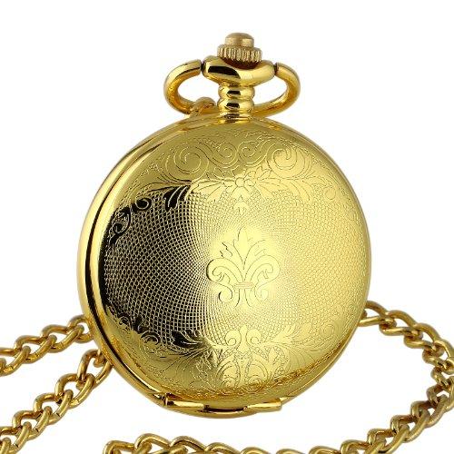 Herren-mechanische-Taschenuhr-Geschenk-Handaufzug-zeitlos-vergoldet-Umhngeuhr