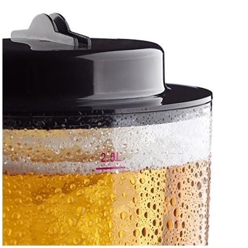 Relaxdays-Biersule-mit-Zapfhahn-HxBxT-50-x-23-x-18-cm-Fllmenge-25-l-Zapfsule-transparent-Biertower-schwarz