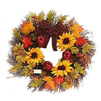 Weihnachtskranz-DIY-Girlande-Tannengirlande-45cm-Weihnachtsdeko-Adventskranz-Knstlich-Strohblumen-Trkranz-fr-Weihnachten-Party