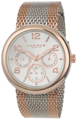 Akribos-XXIV-Damen-Armbanduhr-ak559rg-bicolor-Edelstahl-mit-Mesh-Armband