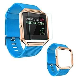 Armbanduhr-Band-23-mm-happytop-Silikon-Armband-Armband-Handgelenk-Armbanduhr-Ersatz-mit-Metall-Rahmen-fr-Fitbit-Blaze
